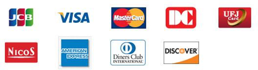 JCB,VISA,MasterCard,DinersClub,UFJ Card,NICOS,American Express,DinersClub,DISCOVER