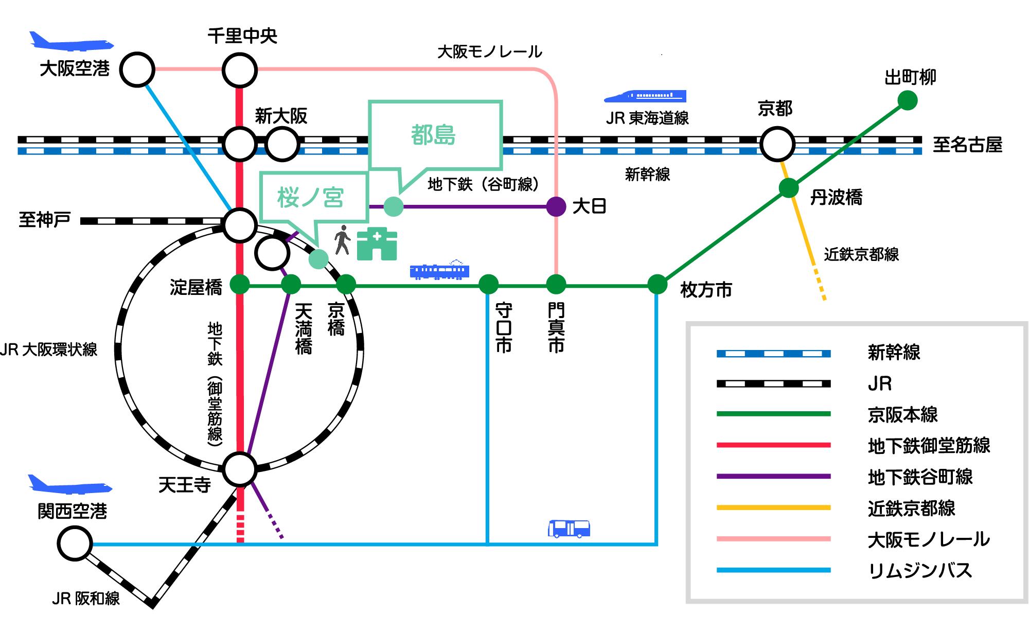 病院への交通アクセス図