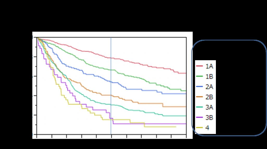 肺癌切除例生存曲線1993-2003